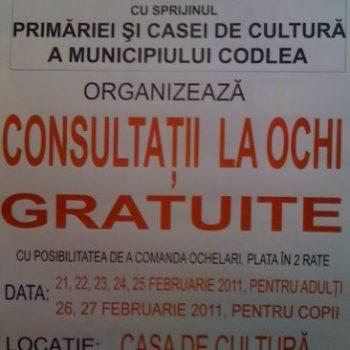 Consultatii gratuite la Casa de Cultura Codlea
