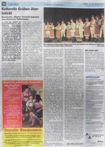 Iată ce s-a scris despre Ansamblul Măgura în ziarul local din Germania!