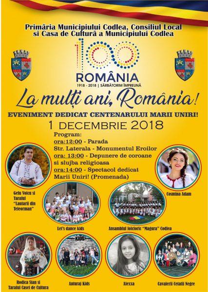 1 DECEMBRIE 2018 – La multi ani Romania!