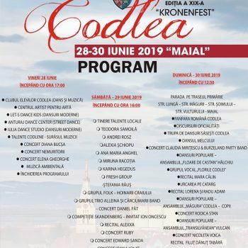 Program Zilele Municipiului Codlea – KRONENFEST – 2019