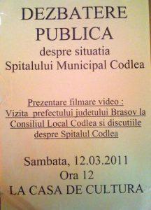 Dezbatere Publica despre situatia Spitalului Municipal Codlea
