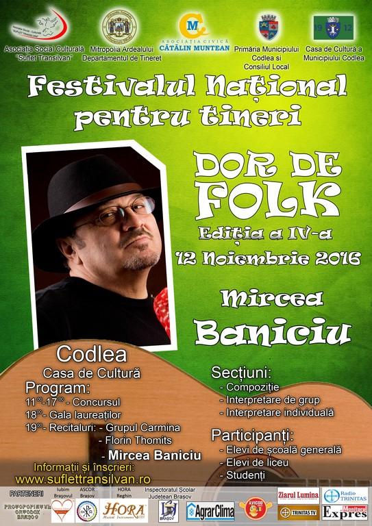 """Festivalul Național pentru tineri """"Dor de Folk"""", ediția a IV-a"""