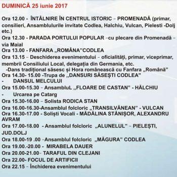 Program Zilele Municipiului Codlea – Kronenfest 2017